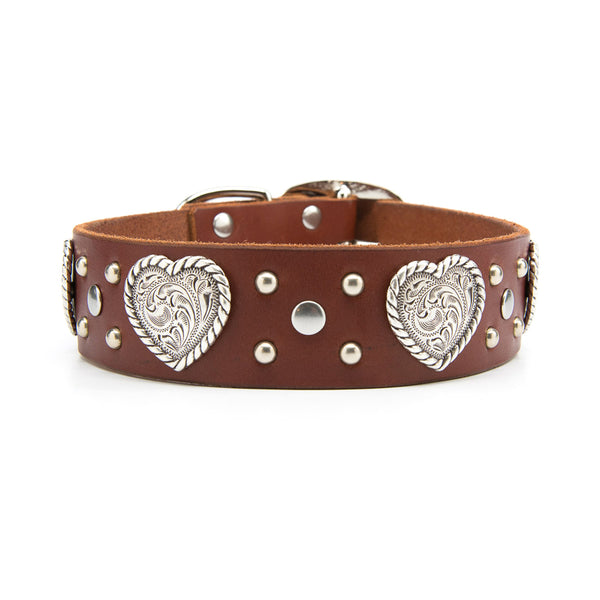 "Silver Hearts Leather Dog Collar - Standard 1.25"" or 1.5"" Width"