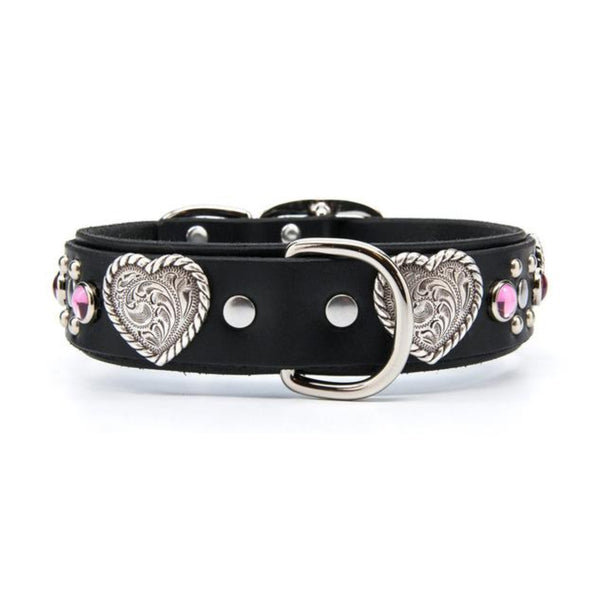 "Silver Hearts Leather Dog Collar with Stones - Premium 1.5"" Width"