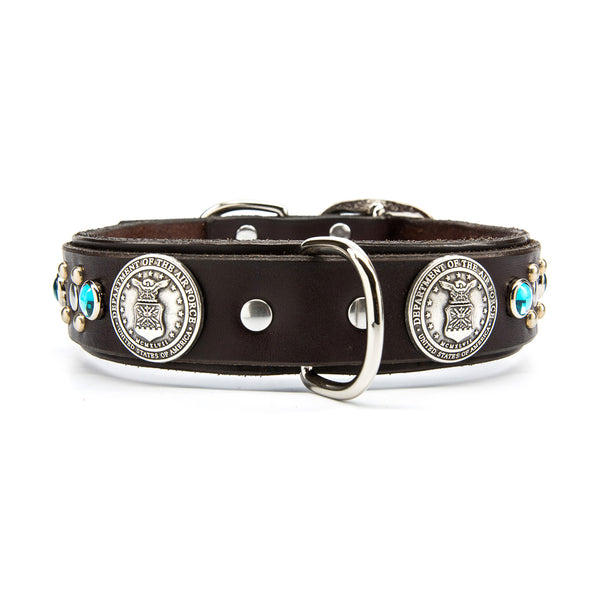 "Silver US AIR FORCE Leather Dog Collar with Stones - Premium 1.5"" Width"