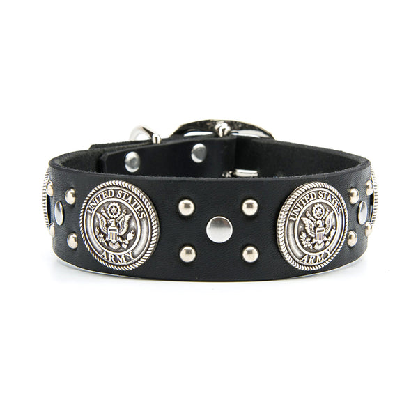 "Silver US ARMY Leather Dog Collar - Standard 1.25"" or 1.5"" Width"