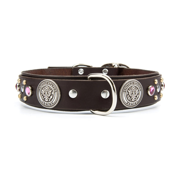 "Silver US ARMY Leather Dog Collar with Stones - Premium 1.5"" Width"