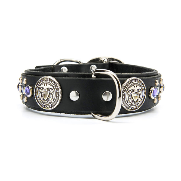 "Silver US NAVY Leather Dog Collar with Stones - Premium 1.5"" Width"