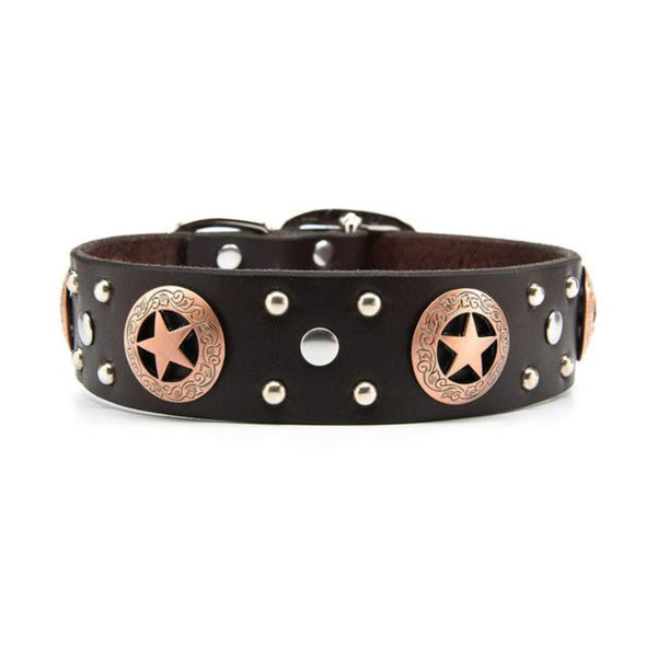 "Copper Stars Leather Dog Collar - Standard 1.25"" or 1.5"" Width"