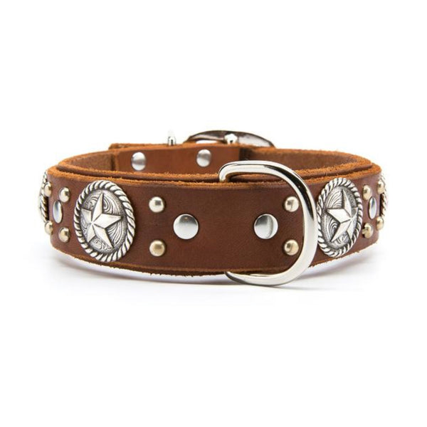 "Silver Rope Stars Leather Dog Collar - Premium 1.25"" or 1.5"" Width"