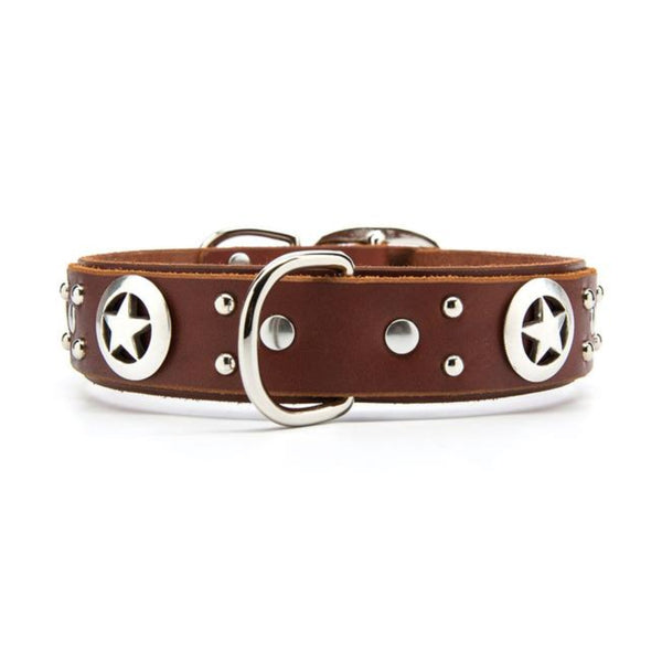 "Silver Stars Leather Dog Collar - Premium 1.5"" Width"