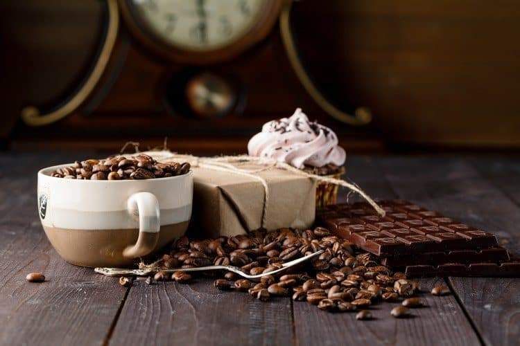 Coffee-flavored foods, foods with caffeine, and coffee bar
