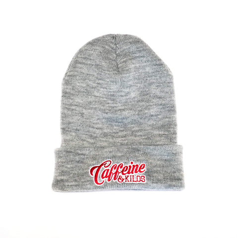 Caffeine and Kilos Inc Accessories Grey SCRIPT LOGO BEANIE (Black Friday)