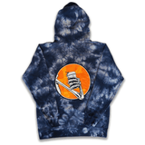 Caffeine and Kilos Inc apparel JOE BONES TIE DYE HOODIE NAVY/ORANGE