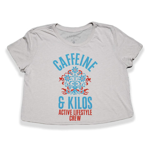 Caffeine and Kilos Inc apparel S Arched Floral Crop Tee