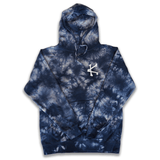 Caffeine and Kilos Inc apparel XS JOE BONES TIE DYE HOODIE NAVY/ORANGE