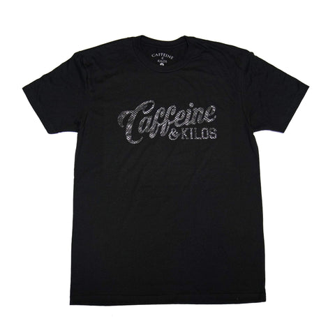 Caffeine and Kilos Inc apparel XS SNAKE SKIN SCRIPT LOGO T (Black Friday)