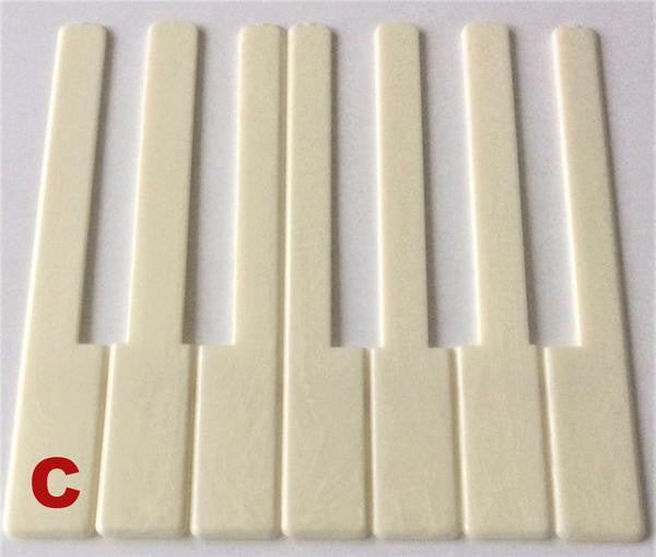 "Piano Keytop Simulated Satin Ivory 6"" Length, 2"" Long Head - Individual Replacement Key"