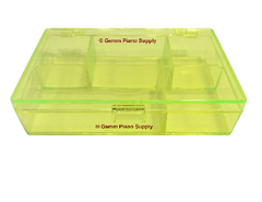 Piano Plastic Storage Box, 5 Compartments, Neon Yellow