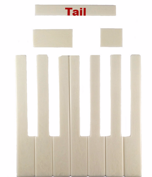 Piano Keytops Simulated Ivory Tails, Medium