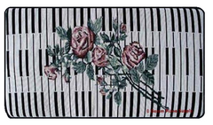 "Piano Bench Keyboard & Rose Style Cushion 14"" x 30"" x 3"""