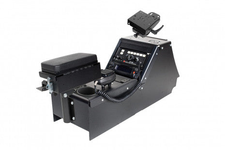 "Ford Police Interceptor Sedan (2012+) console box with cup holder, printer armrest and 6"" locking slide arm motion attachment"