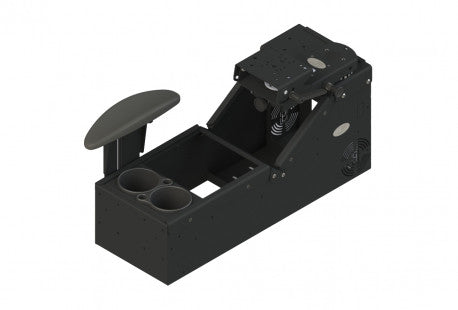 Universal sloped console box with a cup holder, armrest and Mongoose ™ motion attachment - SCI2WAY