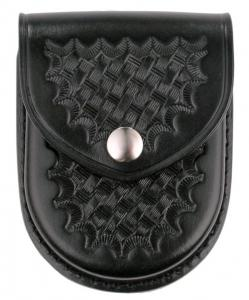 BASKETWEAVE LEATHER ROUND BOTTOM SINGLE CUFF CASE