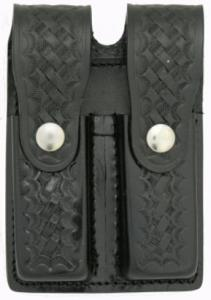 BASKETWEAVE LEATHER DOUBLE MAG HOLDER - SCI2WAY