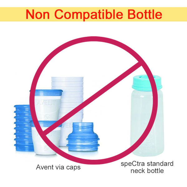 Maymom Adapter for wide-neck bottle with standard-neck flange or bottle connector - Mamagoose