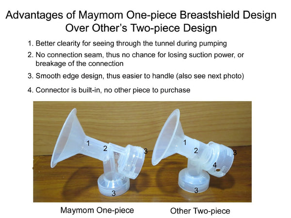 Maymom One-piece Breastshield Flange for Medela breast pump with valve and membrane - Mamagoose