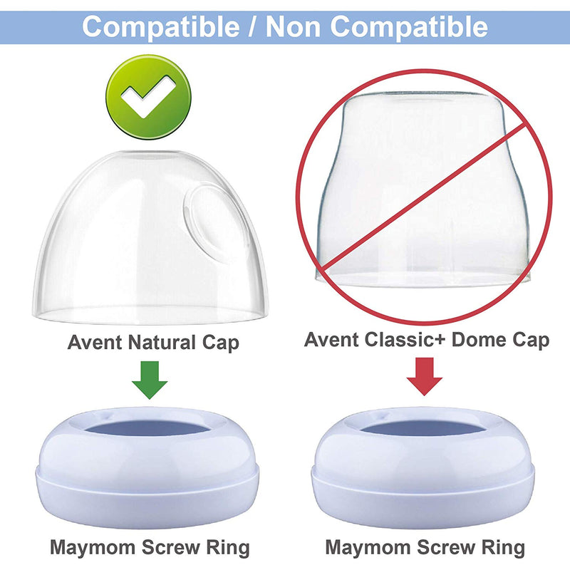 Breast Pump Parts | Maymom Bottle Cap, Sealing Disk, and Screw Ring Set for Avent Natural Bottle | Mamagoose | Part/Accessory for Philips Avent