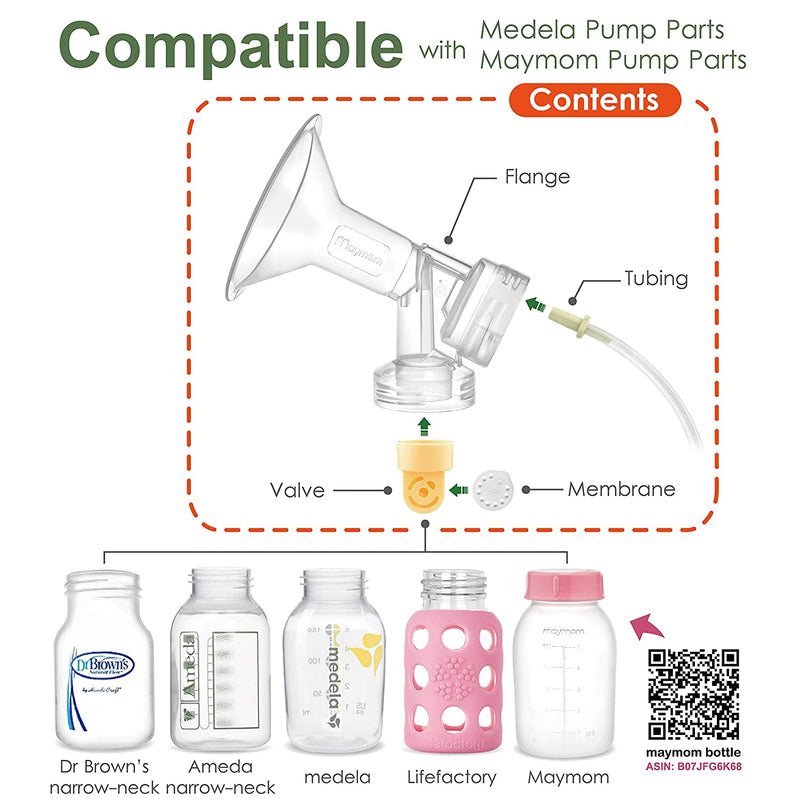 Breast Pump Parts | Maymom Flange for Spectra breast pump with valve & membrane for standard or narrow mouth bottle | Mamagoose | Part/Accessory for Spectra