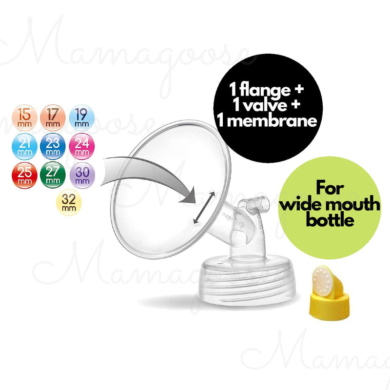 Breast Pump Parts | Maymom Flange for Spectra/Medela with valve & membrane for Wide Mouth Bottle | Mamagoose | Part/Accessory for Spectra