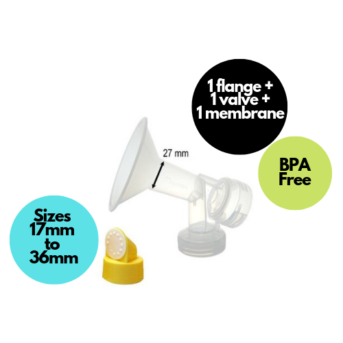 Maymom Breastshield Flange for Medela breast pump with valve and membrane - Mamagoose