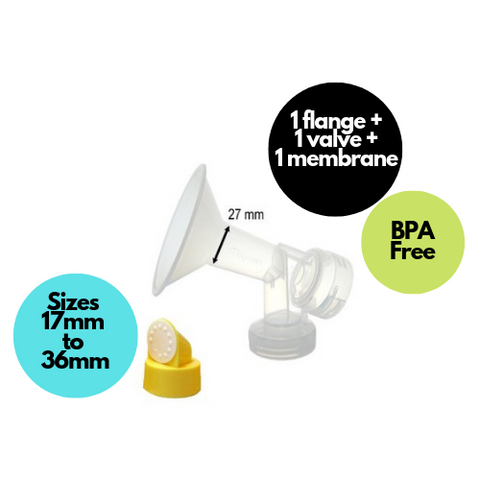 Breast Pump Parts | Maymom One-piece Breastshield Flange for Medela breast pump with valve and membrane | Mamagoose | Part/Accessory for Medela