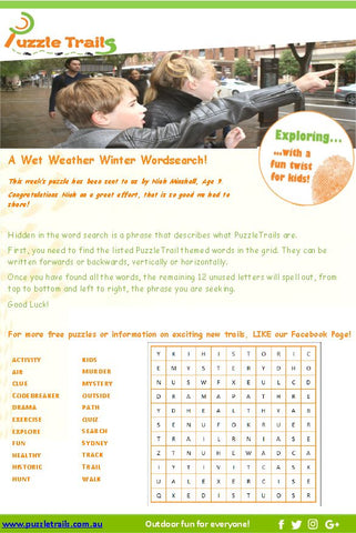 free puzzle from Puzzletrails. wet weather activity #getkidsoutdoors #funkidswalks