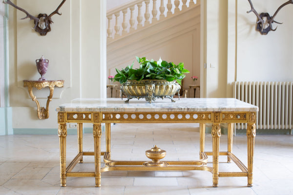 Gilded French marble center table - Entry foyer Chateau du Grand Luce