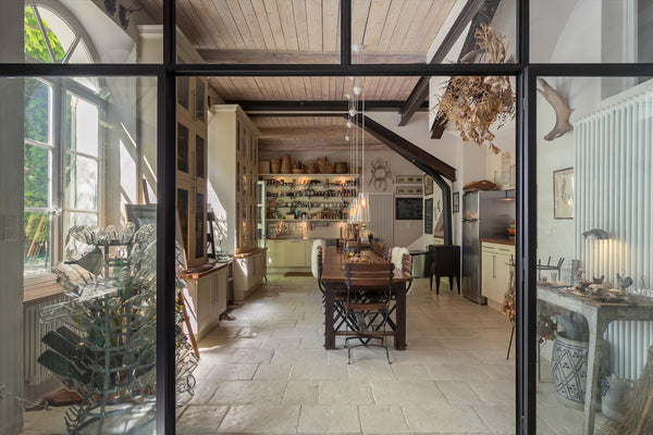 French country kitchen in Provence with antique collectibles
