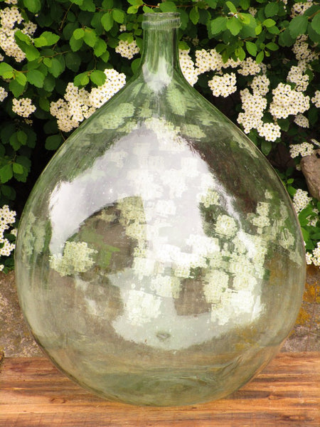 VIntage french demijohn glass wine bottle