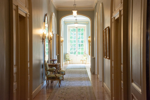 French hallway corridor classic French interior design Chateau du Grand Luce