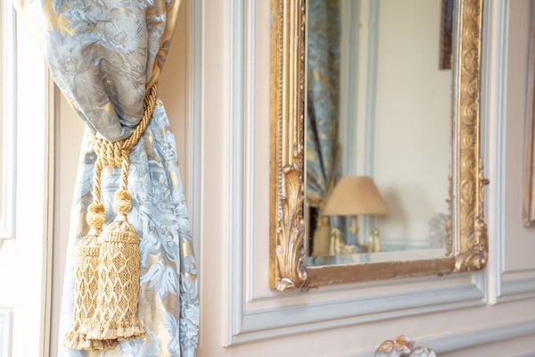 Luxury French fabric, antique mirror Chateau du Grand Luce France