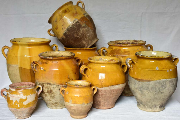 Collection of antique French confit pots French pottery pot a graisse yellow glaze