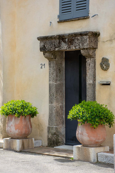 Terra cotta pots beside doorway French garden design