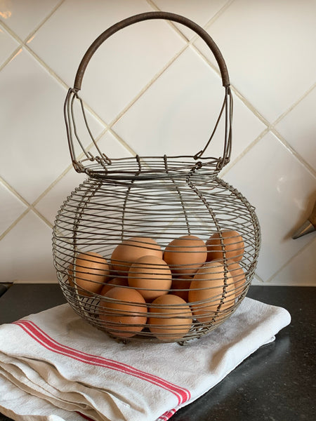 Antique French wire egg basket French country kitchen