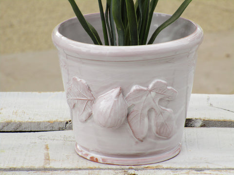 French white glazed pot with fig detail