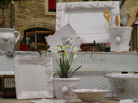 Collection of French bespoke artisan pottery with white glaze from Provence