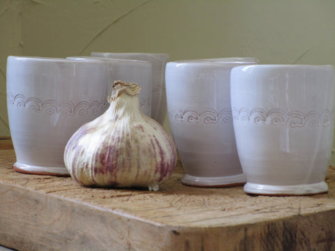Set of four coffee cups, bespoke french pottery with white glaze