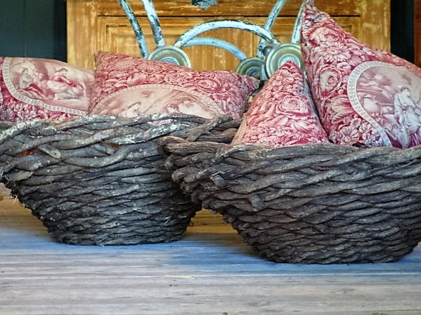 Pair of vintage french baskets wisteria vine rustic beach house decor buy direct from france
