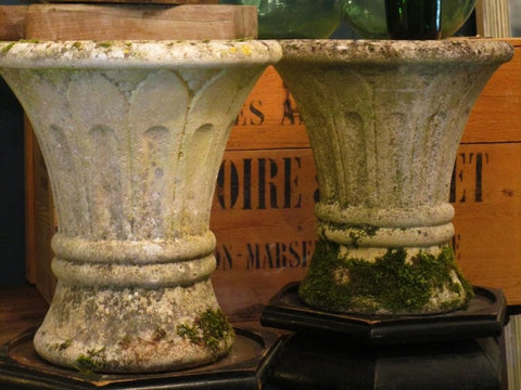 Our pair of mid century french garden urns, weathered,  with splayed tulip shape