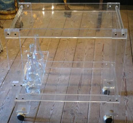 Chez Pluie plexiglass drinks trolley bar cart perspex acrylic vintage retro home bar french
