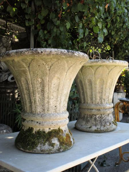 Pair of mid century french pots tapered planter vase moss covered weathered