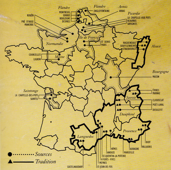Map of key pottery villages in France