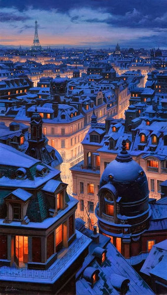 Paris rooftops covered in snow winter christmas holidays French France