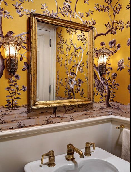 Floral wallpaper antique gilded French mirror Paris apartment Interior design