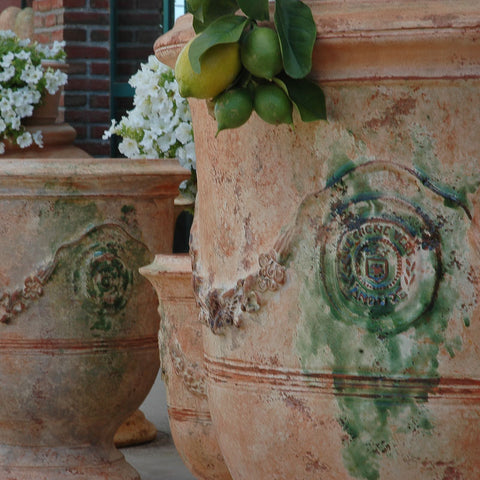 Anduze urns antique finish